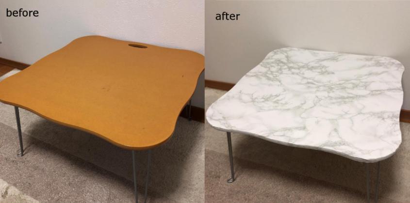 折りたたみテーブルの天板に大理石柄のリメイクシートを上手に貼るコツは?あると便利なグッズも