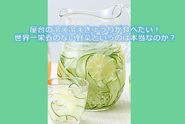 屋台の冷え冷えきゅうりが食べたい!世界一栄養のない野菜というのは本当なのか?